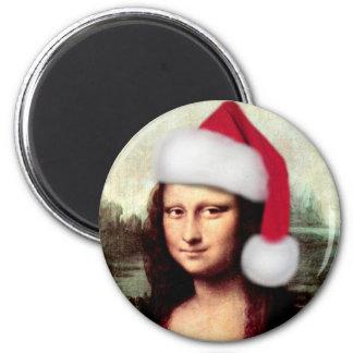 Casquette de Père Noël de Noël de Mona Lisa Magnet Rond 8 Cm