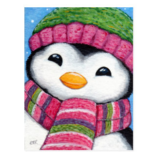 Casquette de pingouin mignon et carte postale de