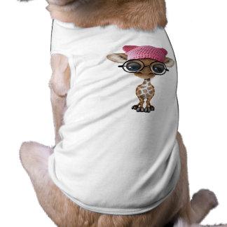 Casquette de port de chat de girafe mignonne de t-shirt pour chien