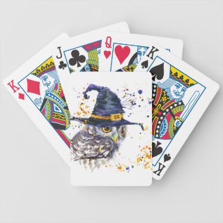casquette de port de sorcières de hibou mignon jeu de cartes