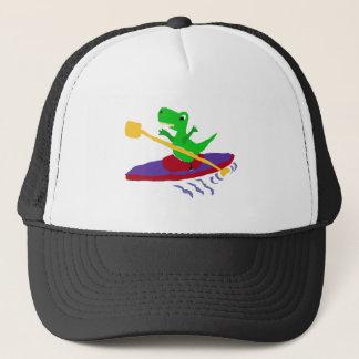 Casquette Dinosaure vert drôle de T-Rex Kayaking