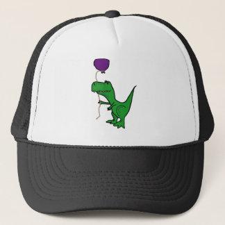 Casquette Dinosaure vert drôle de Trex tenant le ballon