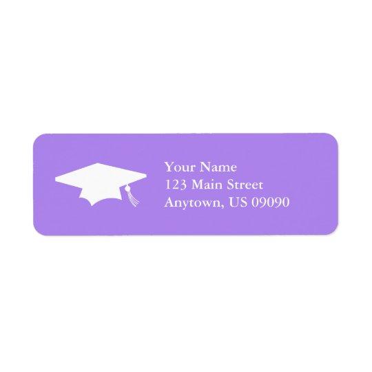Casquette d'obtention du diplôme (pourpre violet) étiquettes d'adresse retour