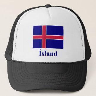 Casquette Drapeau de l'Islande avec le nom dans l'islandais