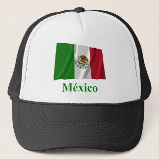 Casquette Drapeau de ondulation du Mexique avec le nom dans