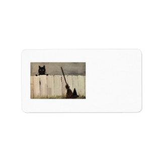 Casquette du balai de sorcière de barrière de chat étiquette d'adresse