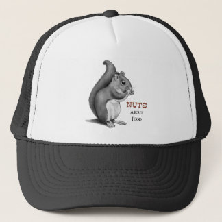 Casquette Écrous au sujet de nourriture : Écureuil : Dessin