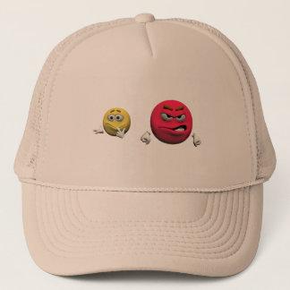 Casquette Émoticône fâchée jaune et rouge ou smiley