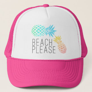 """Casquette été à la mode """"plage svp"""", ananas coloré"""