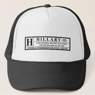 Casquette Étiquette de mise en garde de Hillary Clinton