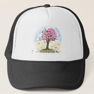 Casquette fleurs de cerisier et oiseau bleu