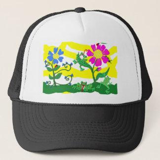 Casquette Fleurs et grenouilles