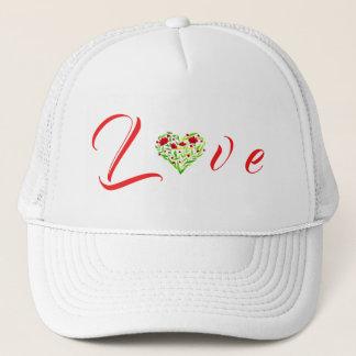 Casquette floral de camionneur de coeur d'amour de