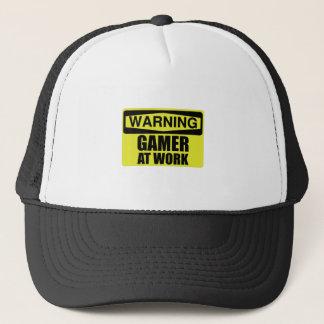 Casquette Gamer de panneau d'avertissement au travail drôle