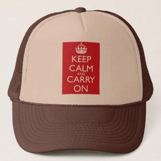 Casquette Gardez le calme et continuez : Rouge de pompe à