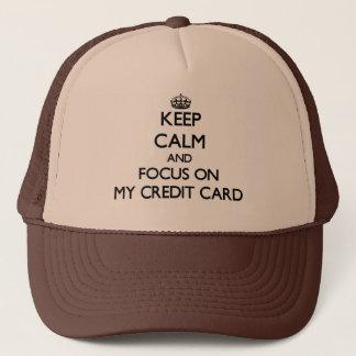 Casquette Gardez le calme et le foyer sur ma carte de crédit