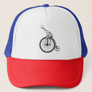 Casquette Giraffee drôle montant un bicycle