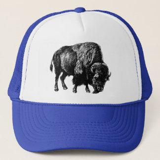 Casquette Gravure du bois vintage de bison américain de
