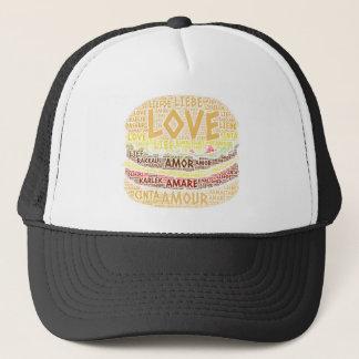 Casquette Hamburger illustré avec le mot d'amour