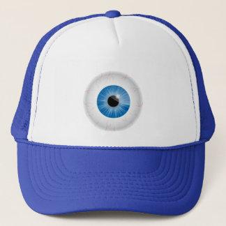 Casquette injecté de sang bleu de globe oculaire