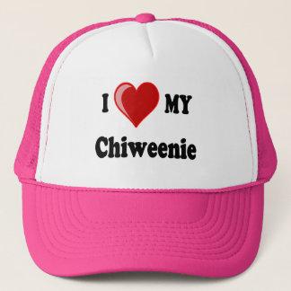 Casquette J'aime (coeur) mon chien de Chiweenie