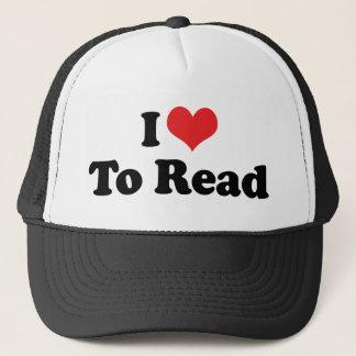 Casquette J'aime le coeur pour lire - l'amoureux des livres
