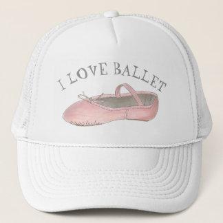 Casquette J'aime le professeur de danse de pantoufle de rose