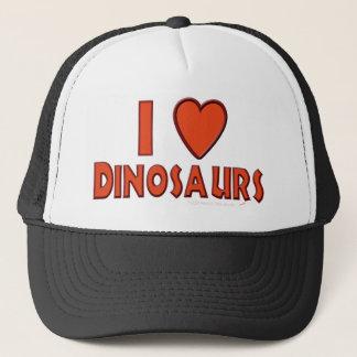 Casquette J'aime le rouge d'amant de dinosaure de dinosaures