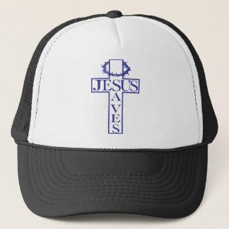 Casquette Jésus sauve le bleu
