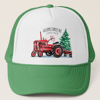 Casquette L'arbre de Noël vintage rouge de tracteur ajoutent