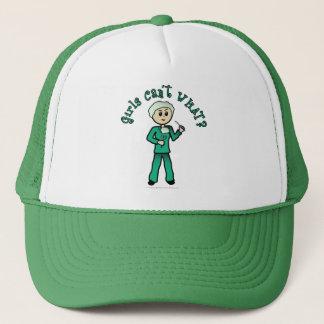 Casquette Le chirurgien féminin léger en vert frotte