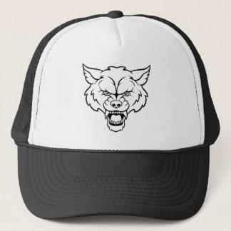Casquette Le loup folâtre le visage fâché de mascotte