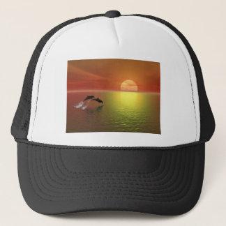 Casquette les dauphins sautant le coucher du soleil d'océan