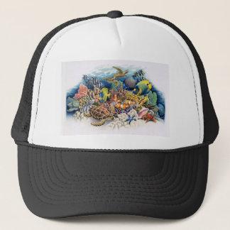 Casquette Les eaux de corail avec les poissons tropicaux