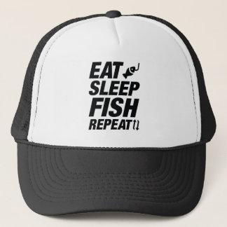 Casquette Mangez la répétition de poissons de sommeil