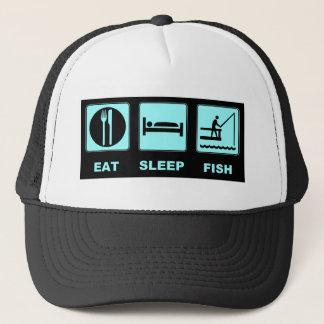 Casquette Mangez les cadeaux de pêche de poissons de sommeil
