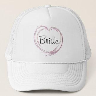 Casquette Mariage abstrait rose de jeune mariée de coeur