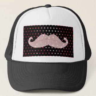 Casquette Motif de pois rose Girly drôle de moustache de
