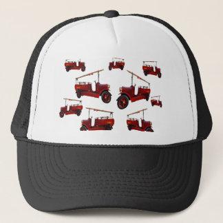 Casquette Motif vintage rouge de camion de pompiers,