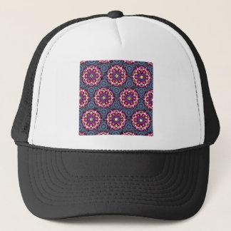 Casquette Motifs floraux et cercles gris