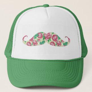 Casquette Moustache florale blanche verte rose Girly drôle