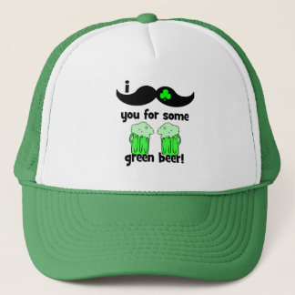 Casquette Moustache I vous pour de la bière verte !
