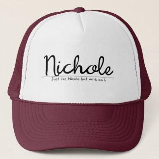 Casquette Nichole avec un nom drôle de h
