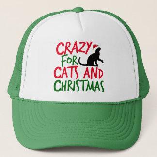 Casquette Noël fou de chat mignon
