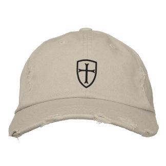 Casquette noir de bouclier de croix de croisé casquette brodée
