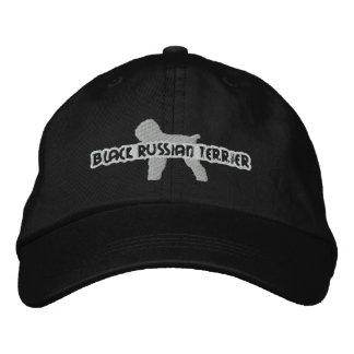 Casquette noir de broderie de Terrier de Russe de Casquette Brodée