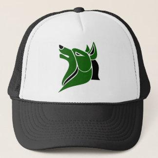 Casquette Noir et tête solide verte de loup du DK