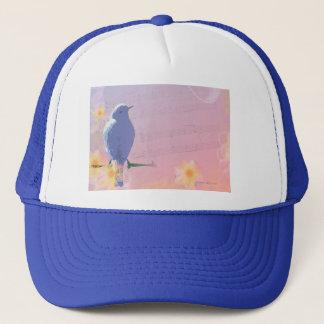 Casquette Oiseau bleu couleur pêche : Oiseaux et fleurs de