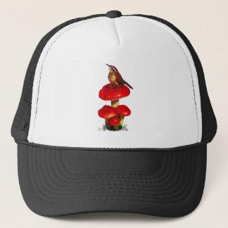 Casquette Oiseau sur un champignon : Art en pastel original