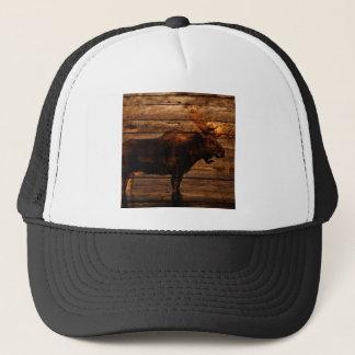 Casquette orignaux en bois de taureau de faune affligés par